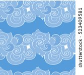seamless pattern with clouds.... | Shutterstock .eps vector #523409581