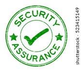 grunge green security assurance ... | Shutterstock .eps vector #523415149