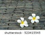 White Plumeria Flowers On...