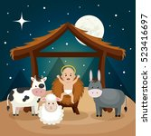 happy merry christmas manger... | Shutterstock .eps vector #523416697