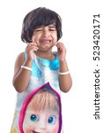 portrait of cute indian little... | Shutterstock . vector #523420171