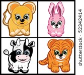 set of little animals   ... | Shutterstock . vector #52342414
