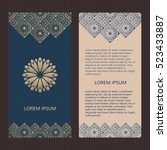 set of two islamic luxury cards.... | Shutterstock .eps vector #523433887