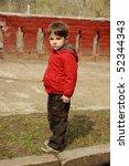 beautiful little boy in red... | Shutterstock . vector #52344343