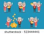 senior people with golden piggy ... | Shutterstock .eps vector #523444441