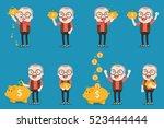 old man with golden piggy bank  ...   Shutterstock .eps vector #523444444