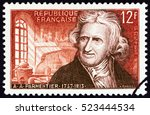 france   circa 1956  a stamp... | Shutterstock . vector #523444534