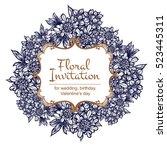 romantic invitation. wedding ... | Shutterstock . vector #523445311