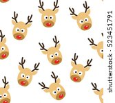 deer heads seamless pattern... | Shutterstock .eps vector #523451791