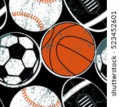sports balls seamless pattern . | Shutterstock .eps vector #523452601