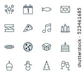 set of 16 new year icons. can... | Shutterstock .eps vector #523461685