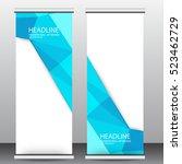 blue roll up business brochure ... | Shutterstock .eps vector #523462729