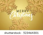 christmas background gold color ... | Shutterstock .eps vector #523464301