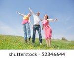 happy people is jumping in field   Shutterstock . vector #52346644