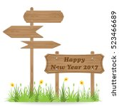 happy new year 2017 text on... | Shutterstock .eps vector #523466689
