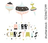 merry christmas greeting... | Shutterstock . vector #523467199