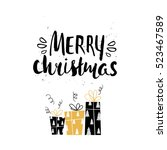 merry christmas unique holiday... | Shutterstock . vector #523467589