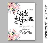 wedding invitation floral... | Shutterstock .eps vector #523475449