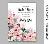 wedding invitation floral...   Shutterstock .eps vector #523475479