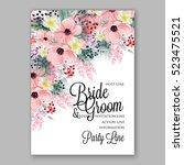 wedding invitation floral... | Shutterstock .eps vector #523475521
