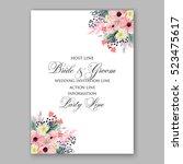 wedding invitation floral... | Shutterstock .eps vector #523475617