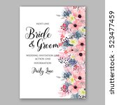 wedding invitation floral... | Shutterstock .eps vector #523477459