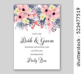 wedding invitation floral... | Shutterstock .eps vector #523477519