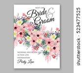 wedding invitation floral... | Shutterstock .eps vector #523477525