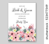 wedding invitation floral... | Shutterstock .eps vector #523477549