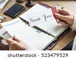 thank you appreciate gratitude... | Shutterstock . vector #523479529