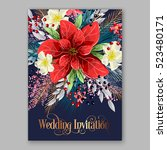red poinsettia wedding... | Shutterstock .eps vector #523480171