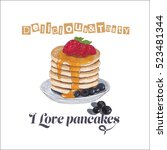 illustration with pancakes. | Shutterstock . vector #523481344