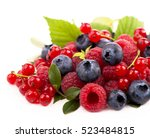 Handful Of Berries On A White...