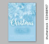 christmas party invitation with ... | Shutterstock .eps vector #523488907