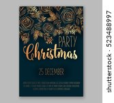 christmas party invitation with ... | Shutterstock .eps vector #523488997