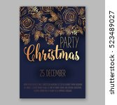 christmas party invitation with ... | Shutterstock .eps vector #523489027