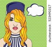 young trendy girl in cap with... | Shutterstock . vector #523490317