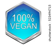 100  vegan button   3d... | Shutterstock . vector #523494715