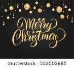 merry christmas card with... | Shutterstock .eps vector #523503685