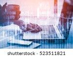 double exposure businessman and ... | Shutterstock . vector #523511821