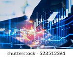 double exposure businessman and ... | Shutterstock . vector #523512361