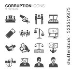 corruption and bribery icons... | Shutterstock .eps vector #523519375