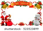 frame ribbon of smiling snowman ... | Shutterstock .eps vector #523523899