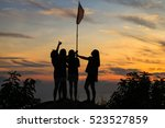 silhouette of girl group in the ... | Shutterstock . vector #523527859