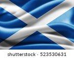 scotland flag of silk 3d... | Shutterstock . vector #523530631