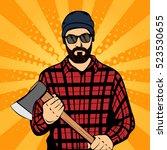 hipster beard man holding the... | Shutterstock .eps vector #523530655