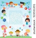 kids party  happy new year on... | Shutterstock .eps vector #523531351