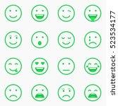 set of green emoticons  emoji... | Shutterstock .eps vector #523534177