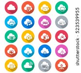 cloud computing flat color icons | Shutterstock .eps vector #523539955