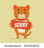 sorry cat character hold... | Shutterstock .eps vector #523543021